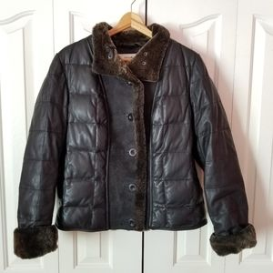 Eddie Bauer Premium Shearling Down Leather Jacket
